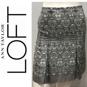 Ann Taylor LOFT Petites Silk Paisley Gray Skirt